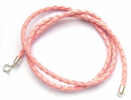 Flechtband Leder rosa Länge und Verschluss wählbar