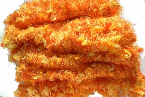 Schal 100% Rohseide 30 x 152 cm orange gelb kuschelig - Vorschau 5