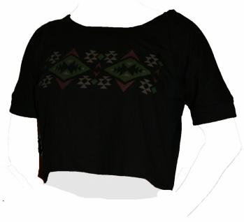 100% Baumwolle T-SHIRT schwarz mit grün grau rosa Muster