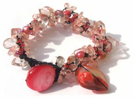 60x Rubelith 5x Perle 2x rosa Perlmuttchip Armband längenvariabel