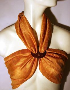 Schal Set RECHTECKMUSTER 100% Rohseide orange mit Schalhalter