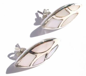 Ohrstecker Perlmutt 925 Silber großes Blatt Intarsien weiß irrisierend - Vorschau 3