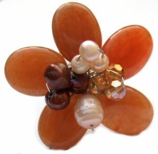 Ring 5x orange Aventurin 7 x Perlen groß 3-fache Ringschiene verstellbar