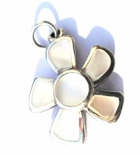 Anhänger Perlmutt 925 Silber große Blüte Intarsien weiß