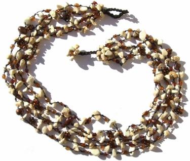 Collier 125x Magnesit SWzucht Perlen 5-reihig creme kupfer