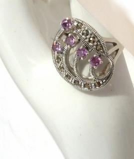 Ring 5x lila Amethyst Rundfacetten 10x Markasit 925 Silber groß - Vorschau 5
