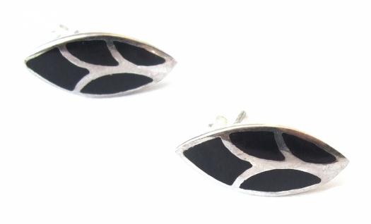 Ohrstecker Onyx 925 Silber großes Blatt Intarsien schwarz