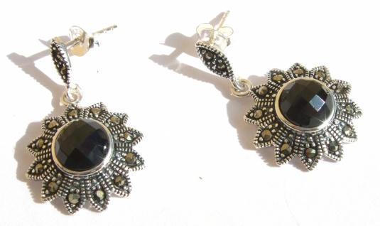 Ohrringe 2x schwarze Zirkonia facettiert 28x Markasit 925 Silber lSonne