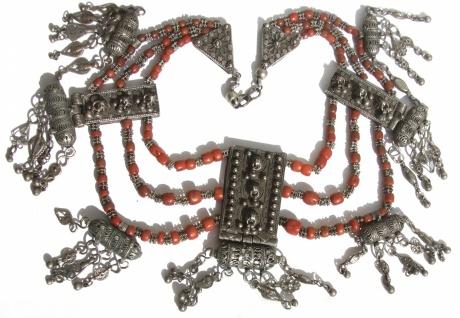 große Kette Korallen Silber antik jüdisch jemenitisch Unikat 3Reiher