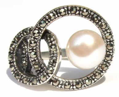 Ring 1x weiße flache Perle 39x Markasit 925 Silber Kreise