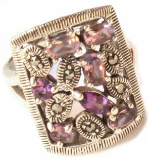 Ring 7x lila Amethyst 7x Markasit Rund-Oval-und Rosenfacetten 925 Silber