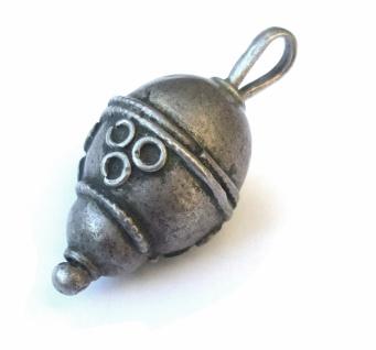 verzierte Tropfen Kugel antik Silber Anhänger jüdisch jemenitisch Unikat