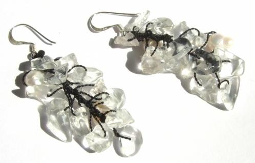 Ohrringe lang Bergkristall Perlen 925 Silber CLEAR WHITE PEARL FAIRYTALE