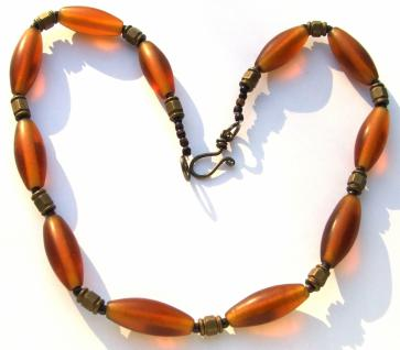GOLDENORANGE COLLIER- Glas Holz Messing 50 cm Kette