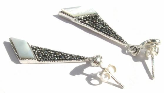 Ohrringe 2x weißer Perlmutt Trapez 24x großer Markasit 925 Silber