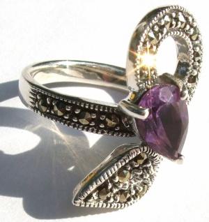 Ring 1x lila Amethyst Tropfenfacetten 23x Markasit 925 Silber Zweig - Vorschau 3