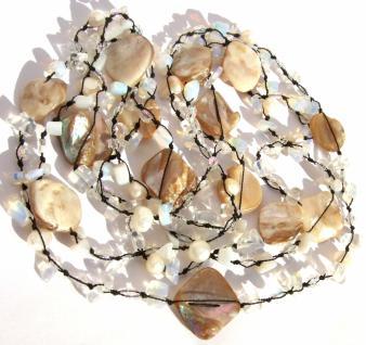 Kette Mondstein Perle Perlmutt geknotet 1, 2, 3-fach tragbar sehr lang