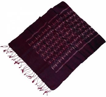 Schal 100% Rohseide Mudmee 46 x 156cm rosa violett brombeer Rauten