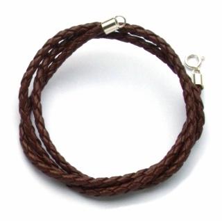 Flechtband Leder braun Länge und Verschluss wählbar