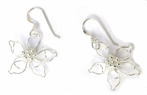Pure 925 Silber Ohrringe blühender Lotus