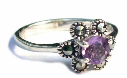 Ring1x lila Amethyst Brillantschliff 5x Markasit 925 Silber