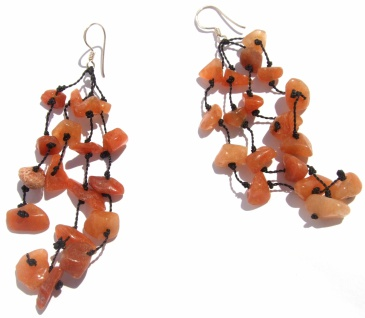 Ohrringe lang Orangencalcit 925 Silber 4fach PURE ORANGE STONES