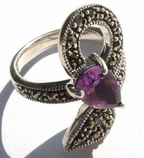 Ring 1x lila Amethyst Tropfenfacetten 23x Markasit 925 Silber Zweig - Vorschau 2