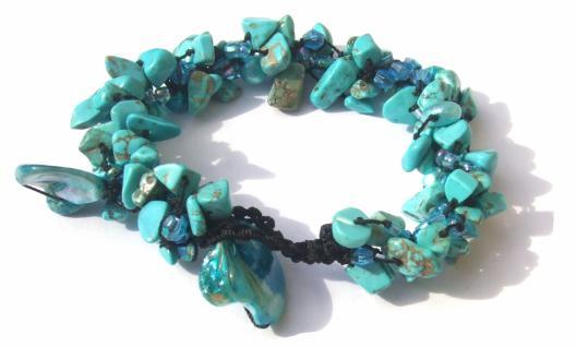 Armband 60x Türkis 5x Perle 2x blaue Perlmuttchip längenvariabel