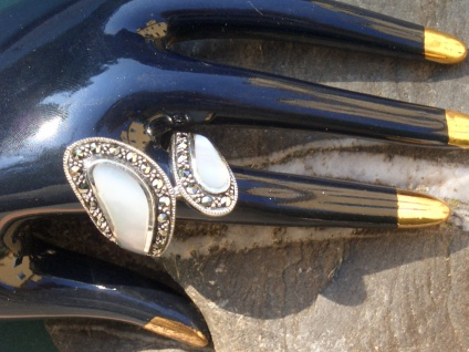 Ring 2x weisser Perlmutt 12x Markasit 925 Silber Umarmung - Vorschau 5