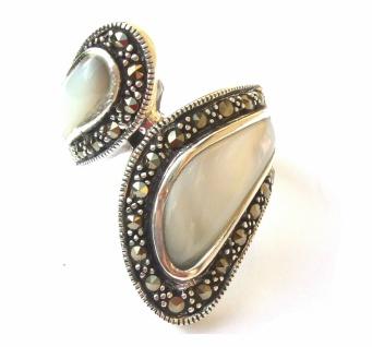 Ring 2x weisser Perlmutt 12x Markasit 925 Silber Umarmung - Vorschau 3