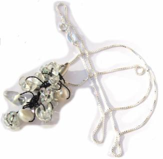 Kette mit Anhänger Bergkristall Perlen Blumen 925 Silber weiß Unikat