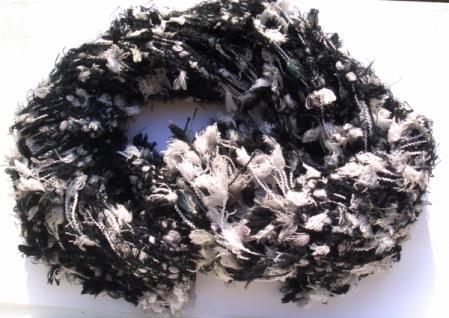 Schal 100% Rohseide 30 x 152 cm schwarz weiß KUSCHELFLOCKEN