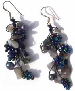 Ohrringe lang 14x Sardonyx 4x Perlen 925 Silber Blumen graubraun