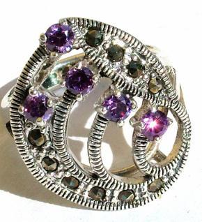 Ring 5x lila Amethyst Rundfacetten 10x Markasit 925 Silber groß - Vorschau 3