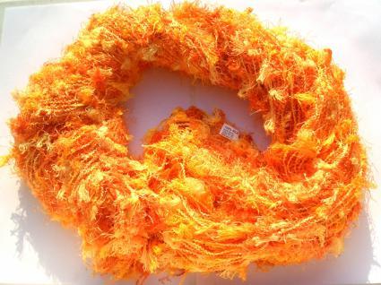 Schal 100% Rohseide 30 x 152 cm orange gelb KUSCHELFLOCKEN