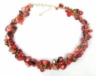 Collier Koralle Perlmutt Süsswasserzuchtperlen rotrosagold