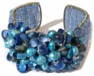 Armspange 30x blauer Lapis Lazuli Sodalith 20x Perlen auf Silber breit verstellbar