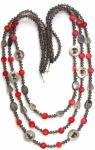 Kette lang 3-stufig 28x rote Koralle Rauchquarz Perlmutt 925 Silber