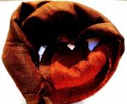 CHIC & KUSCHELIG -100% Rohseide Schal orange braun 38x172cm