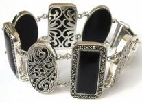 7 x schwarzer Onyx Cabochonscheiben 115 x Markasit 925 Silber breites Armband