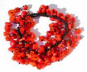 Armband 70x rote Koralle 30x orangene Blumen längenvariabel