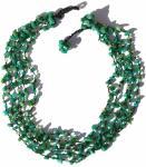 Collier 5-reihig 125x Moosachat grüne Perlen Kristalle Blumen