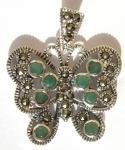 Anhänger 8x Smaragd facettiert 20x Markasit 925 Silber Schmetterling