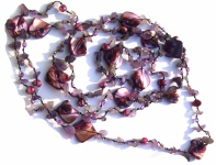 Kette Amethyst Perlen Perlmutt geknotet 1, 2, 3-fach tragbar sehr lang