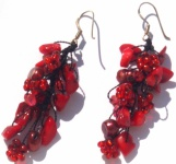 RED MERMAID -Korallen Perlen 925 Silber lange Ohrringe