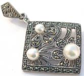 3x Perle weiß 50x Markasit 925 Silber Anhänger Quadrat