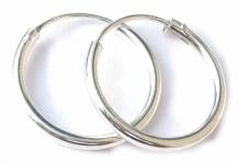 Runde Creolen 1 Paar Silber 14 mm Ohrringe