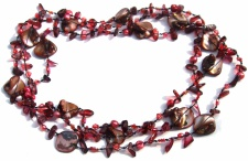 Kette Granat Perle Perlmutt geknotet 1, 2, 3-fach tragbar sehr lang dunkelrot