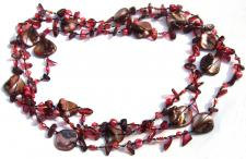 Kette sehr lang Granat Perle Perlmutt geknotet 1, 2, 3-fach tragbar