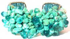 TURQUOISE-BLUE SEA & EARTH- Perlen Türkis breite Armspange
